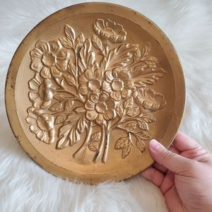 Vintage Metal Floral Gold Tin Hanging Decor Plate